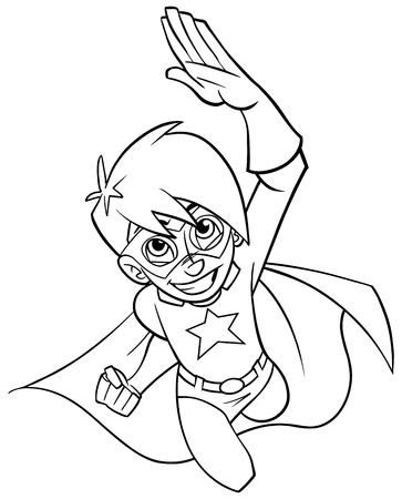 Line art full length cartoon illustration of powerful and healthy super boy flying while wearing superhero costume against white background for copy space. Illustration