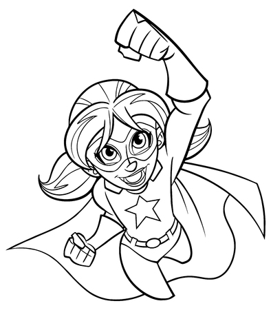 Line art full length cartoon illustration of powerful and healthy super girl flying while wearing superhero costume against white background for copy space. 版權商用圖片 - 112835514