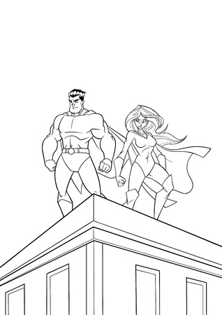 Superhero couple watching over the city from the roof of tall building at night.