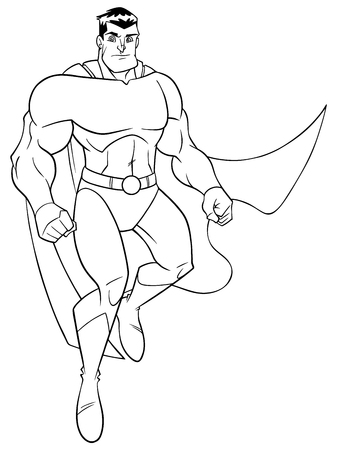 Line art full length illustration of a strong and brave cartoon superhero wearing cape and costume while flying up during mission against white background for copy space.