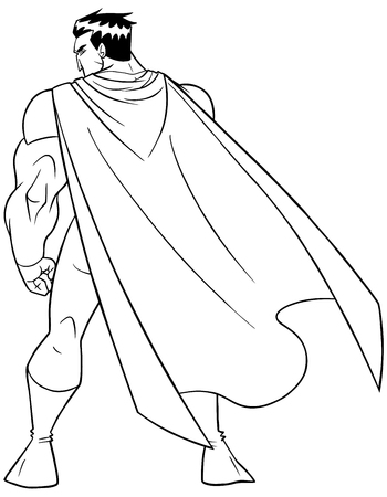 Line art full length rear view of a powerful superhero with cape standing ready for action against white background with copy space. Ilustração