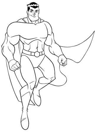 Line art full length illustration of happy cartoon superhero wearing cape and costume while flying up during mission against white background for copy space.
