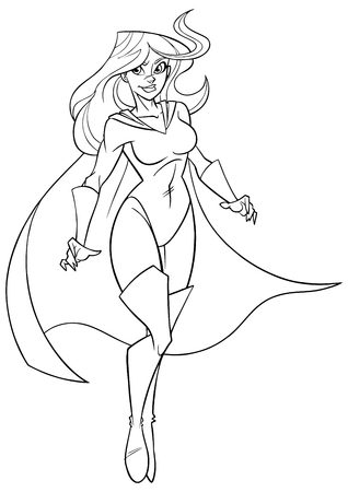 Line art full length illustration of determined and powerful superheroine wearing cape while flying during mission against white background for copy space. Ilustração