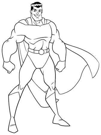 Line art illustration of smiling superhero standing tall on white background.