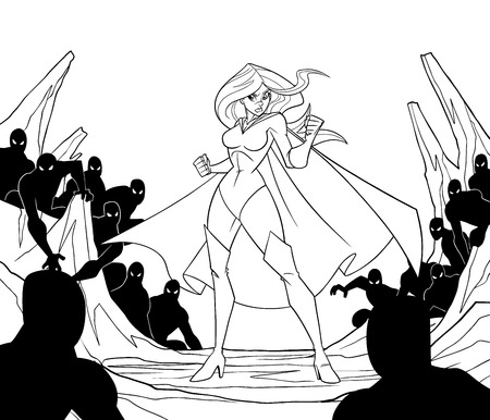 Full length line art illustration of cartoon brave superheroine standing alone in confrontation with the forces of evil as concept for courage and positive power.