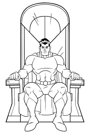 Front view line art illustration of cartoon superhero sitting on an iron throne as a positive concept for power and leadership isolated on white background for copy space.