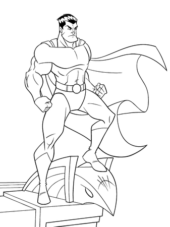 Line art of superhero watching over the city from the roof of a tall building. The hero and the building are isolated on white background which can be used as copy space.