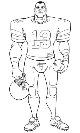 Full length front view of a determined and competitive American football player standing ready for the game against white background for copy space.