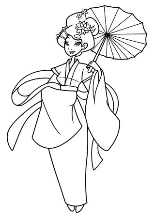 Full length line art illustration of a beautiful Asian woman wearing traditional clothing while holding a red umbrella against white background for copy space. Illusztráció