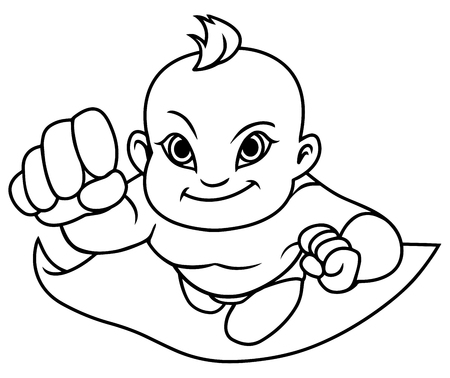 Full length line art illustration of super baby smiling while flying.