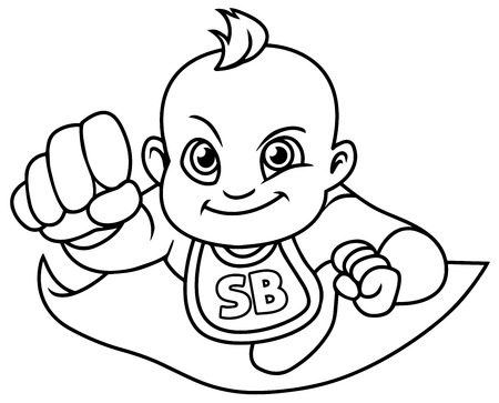 Full length line art illustration of a super baby girl smiling while flying with cape against white background for copy space.