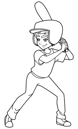 Full length line art illustration of competitive and confident boy smiling while holding the baseball bat during match against white background for copy space.