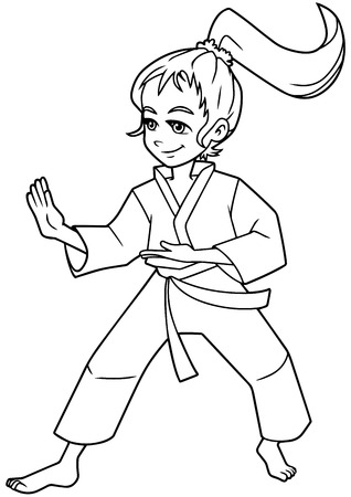 Full length line art illustration of determined girl wearing karate suit while practicing martial arts for self-defense against white background for copy space. Ilustração