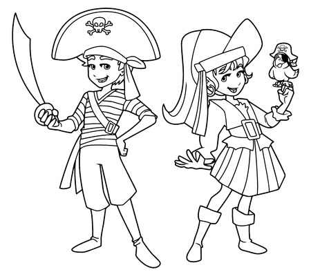 Full length line art illustration of two cute and happy children, boy and girl, smiling while wearing pirate costumes during carnival party against white background for copy space. Illustration