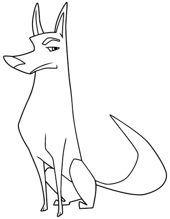 Line art illustration of an intelligent and suspicious dog sitting down while looking at camera with vigilance against white background for copy space. Illustration