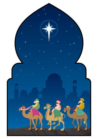 Les trois mages suivent l'étoile de Bethléem à travers le désert.