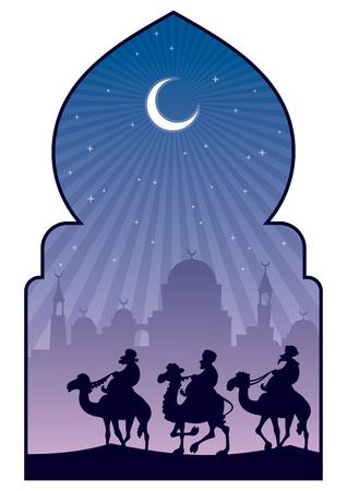 Cartoon illustration depicting 3 Muslim camel riders on their pilgrimage to Mecca.