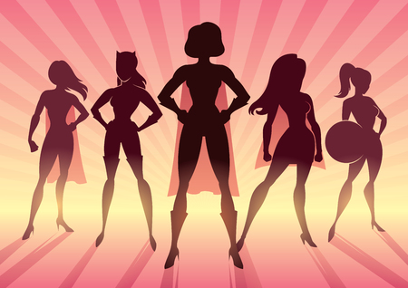 Conceptual illustration depicting team of female superheroes as a concept for sisterhood. Ilustração