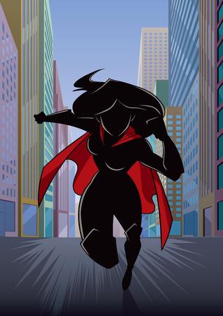 Cartoon illustration of powerful superheroine running fast through city street.