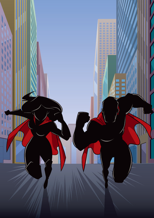 Silhouette illustration of superhero couple running fast through city street.