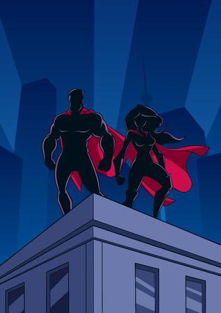 Pareja de superhéroes vigilando la ciudad desde el techo de un edificio alto por la noche.