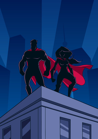 Superhero couple watching over the city from the roof of a tall building at night.  イラスト・ベクター素材