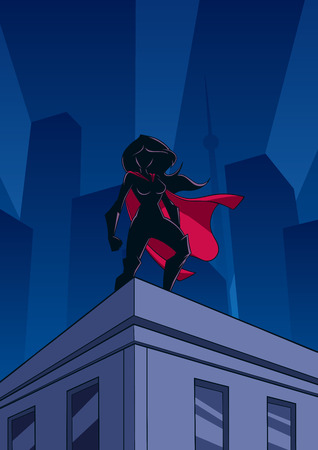 Superheroine watching over the city from the roof of a tall building at night.