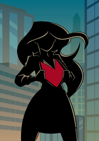 Silhouette illustration of businesswoman in city, revealing her true identity of powerful superheroine. Standard-Bild - 120435648