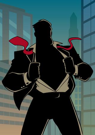 Silhouette illustration of businessman in city, revealing his true identity of powerful superhero. Standard-Bild - 120435651