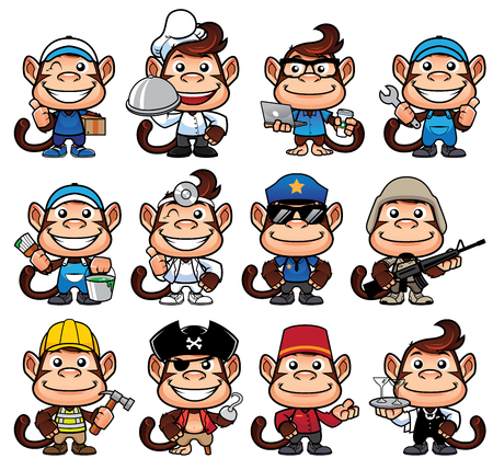 Cartoon monkey in 12 poses for different occupations and isolated on white background. Illustration