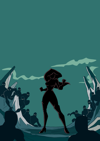 Silhouette illustration of brave cartoon superheroine standing alone in confrontation with the forces of evil as concept for courage and positive power. Copyspace included. Illustration