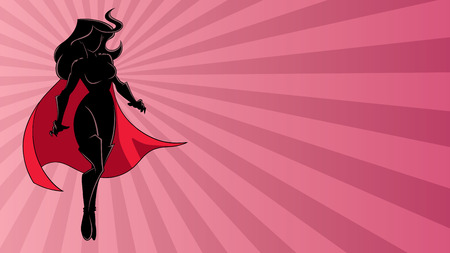 Full length illustration of determined and powerful superheroine flying against abstract ray light background.