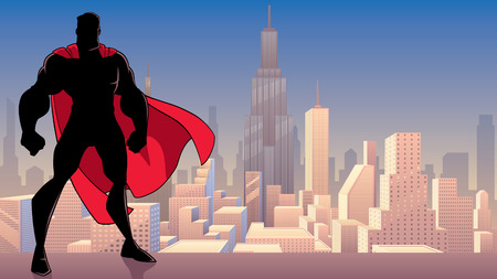 Silhouette of superhero standing tall on city background with copy space.  イラスト・ベクター素材
