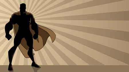Super-héros debout sur fond clair de rayon abstrait avec espace de copie. Vecteurs