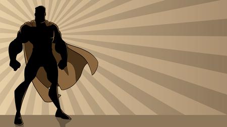 Superhéroe de pie sobre fondo de luz de rayo abstracto con espacio de copia. Ilustración de vector