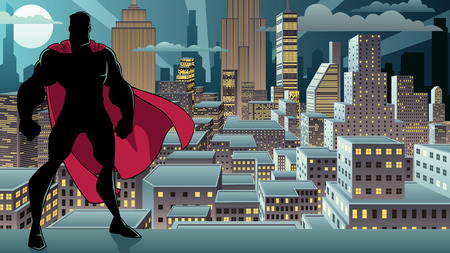 Silhouette of superhero standing tall on city background with copy space. Vettoriali