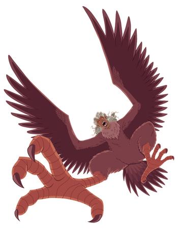 Illustration of ferocious cartoon harpy isolated on white background.