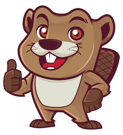 Cartoon mascot of beaver isolated on white background. Vector Illustratie