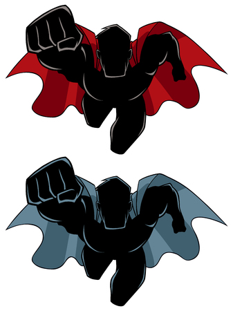 Front view silhouette illustration of determined and powerful superhero wearing cape while flying against white background for copy space.