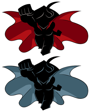 Front view silhouette illustration of determined and powerful superheroine wearing cape while flying against white background for copy space.