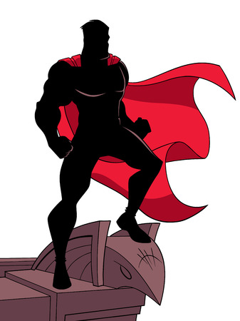 Silhouette of a superhero watching over the city from the roof of a tall building. The hero and the building are isolated on white background which can be used as copy space.