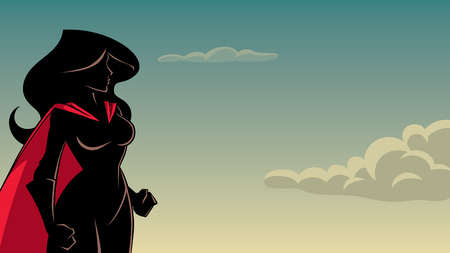 Cartoon Silhouette illustration of determined and powerful superheroine against sky background for copy space. Ilustração