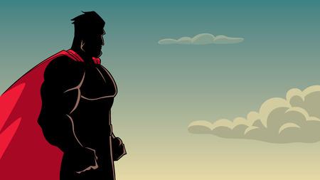 Vue latérale illustration silhouette d'un super-héros puissant et déterminé avec cape rouge prêt à l'action sur fond de ciel pour l'espace de copie.