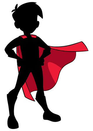 Full length silhouette illustration of superhero boy wearing cape and superhero costume. Vectores