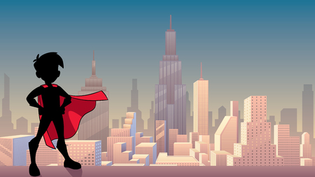 Silhouette illustration of superhero boy wearing cape against city background as copy space.