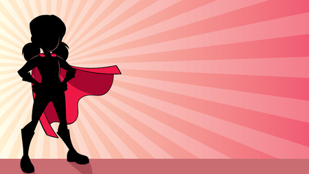 Illustration of a super heroine girl wearing red cape against ray light background for copy space.