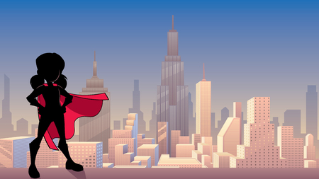 Silhouette illustration of super heroine girl wearing red cape against city background as copy space.