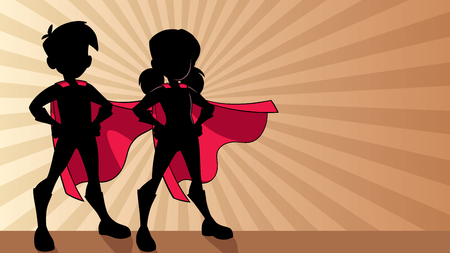 Silhouette illustration of super children wearing capes against ray light background for copy space. Illustration