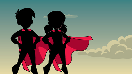 Silhouette illustration of superhero children wearing capes against sky background for copy space. Vectores
