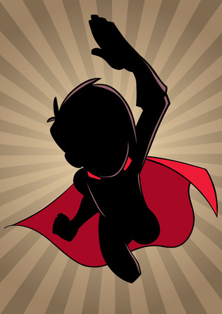 Cartoon silhouette illustration of powerful and healthy super boy, flying against ray light background... Çizim